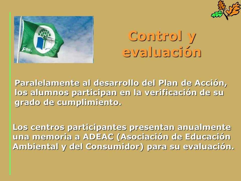 Control y evaluación Paralelamente al desarrollo del Plan de Acción, los alumnos participan en la verificación de su grado de cumplimiento.