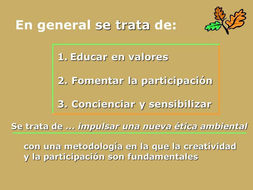 En general se trata de: Educar en valores 2. Fomentar la participación