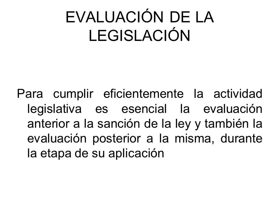 EVALUACIÓN DE LA LEGISLACIÓN