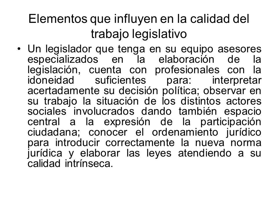 Elementos que influyen en la calidad del trabajo legislativo