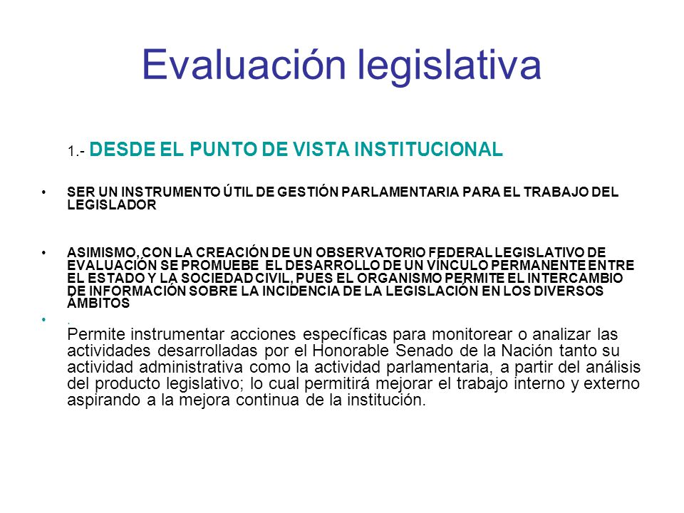 Evaluación legislativa