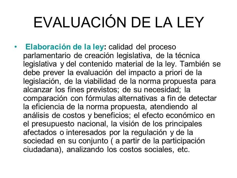 EVALUACIÓN DE LA LEY