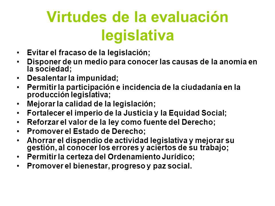 Virtudes de la evaluación legislativa