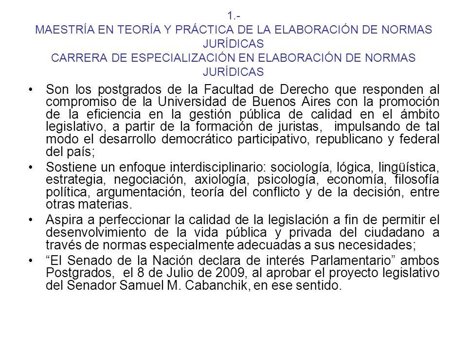 1.- MAESTRÍA EN TEORÍA Y PRÁCTICA DE LA ELABORACIÓN DE NORMAS JURÍDICAS CARRERA DE ESPECIALIZACIÓN EN ELABORACIÓN DE NORMAS JURÍDICAS