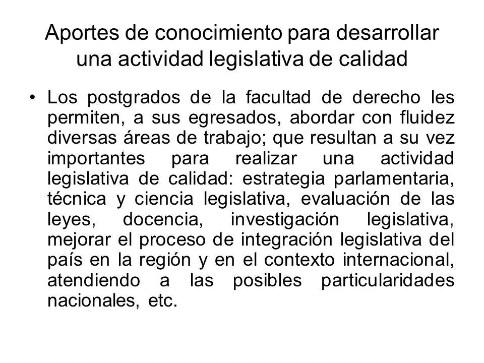 Aportes de conocimiento para desarrollar una actividad legislativa de calidad