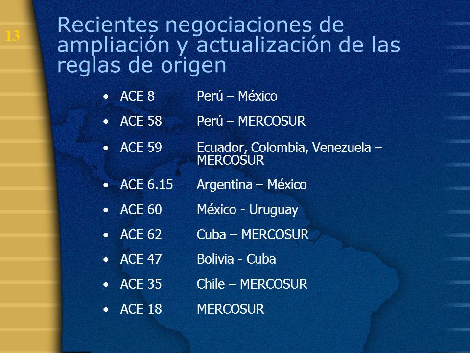 Recientes negociaciones de ampliación y actualización de las reglas de origen