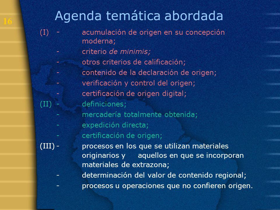 Agenda temática abordada
