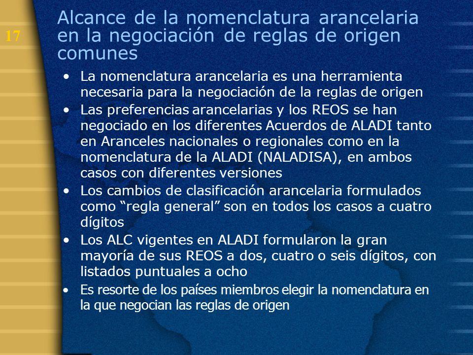 Alcance de la nomenclatura arancelaria en la negociación de reglas de origen comunes