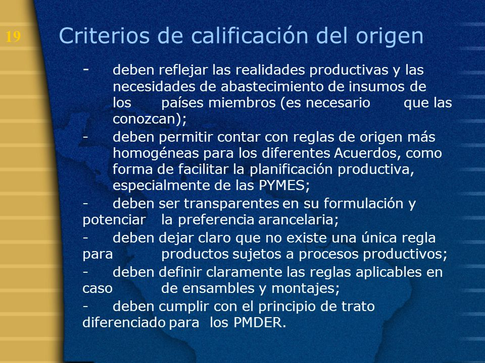 Criterios de calificación del origen