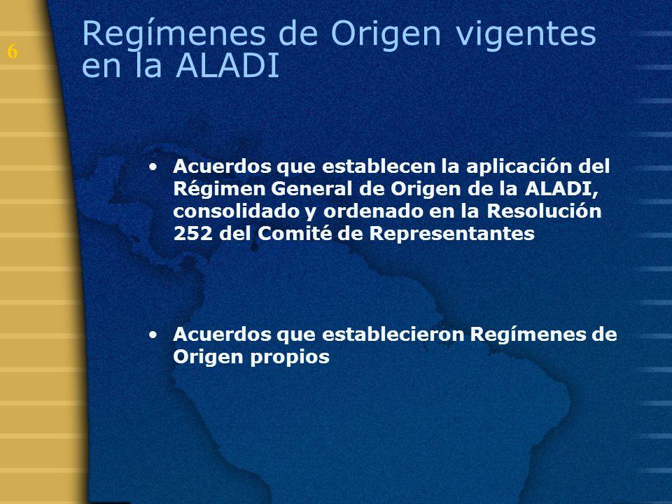 Regímenes de Origen vigentes en la ALADI
