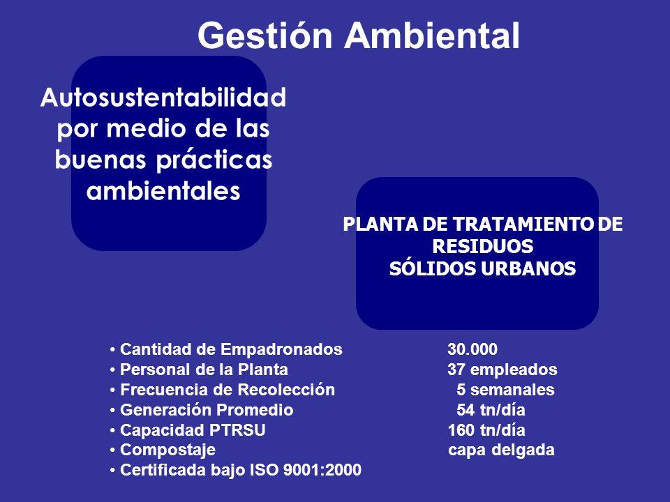 Gestión Ambiental Autosustentabilidad por medio de las buenas prácticas ambientales. PLANTA DE TRATAMIENTO DE RESIDUOS.