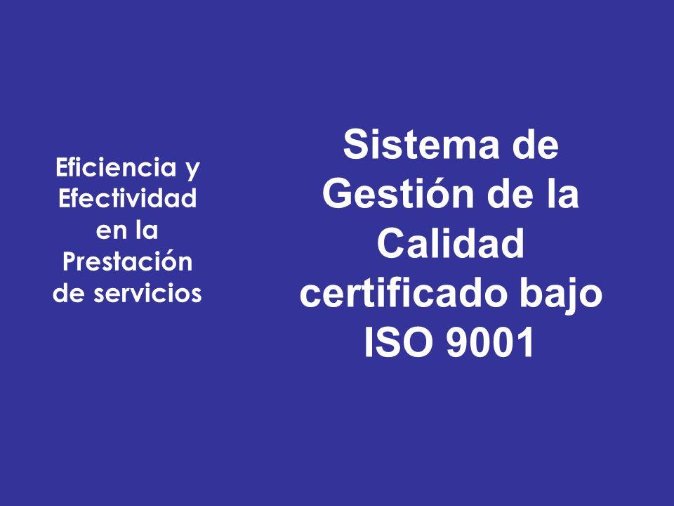 Sistema de Gestión de la Calidad certificado bajo ISO 9001
