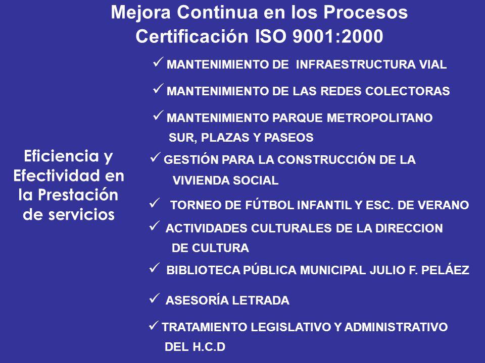 Mejora Continua en los Procesos Certificación ISO 9001:2000