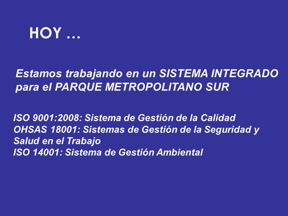 HOY … Estamos trabajando en un SISTEMA INTEGRADO para el PARQUE METROPOLITANO SUR. ISO 9001:2008: Sistema de Gestión de la Calidad.