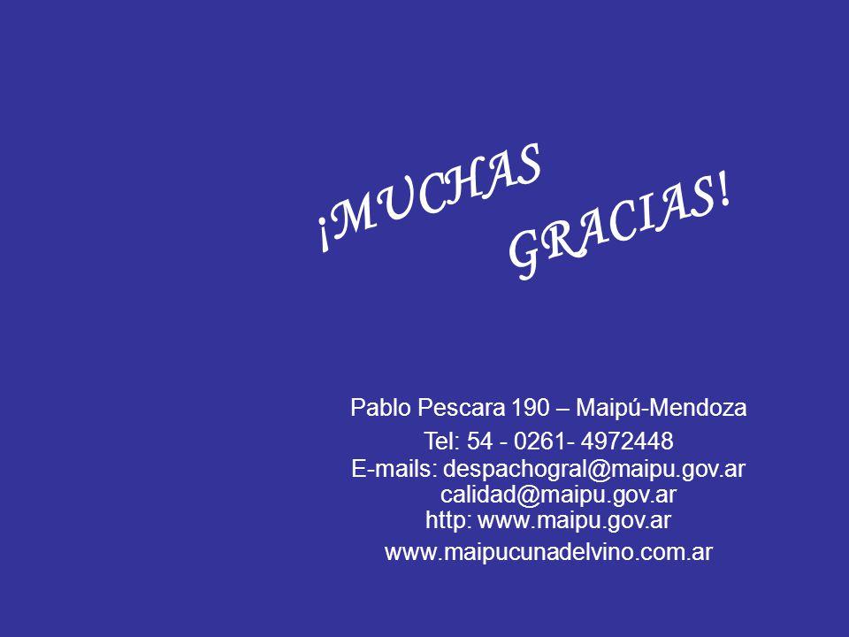 ¡MUCHAS GRACIAS! Pablo Pescara 190 – Maipú-Mendoza