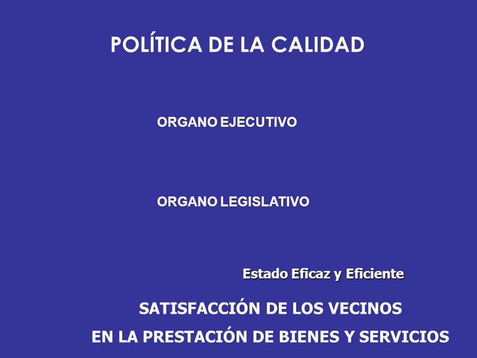 POLÍTICA DE LA CALIDAD SATISFACCIÓN DE LOS VECINOS