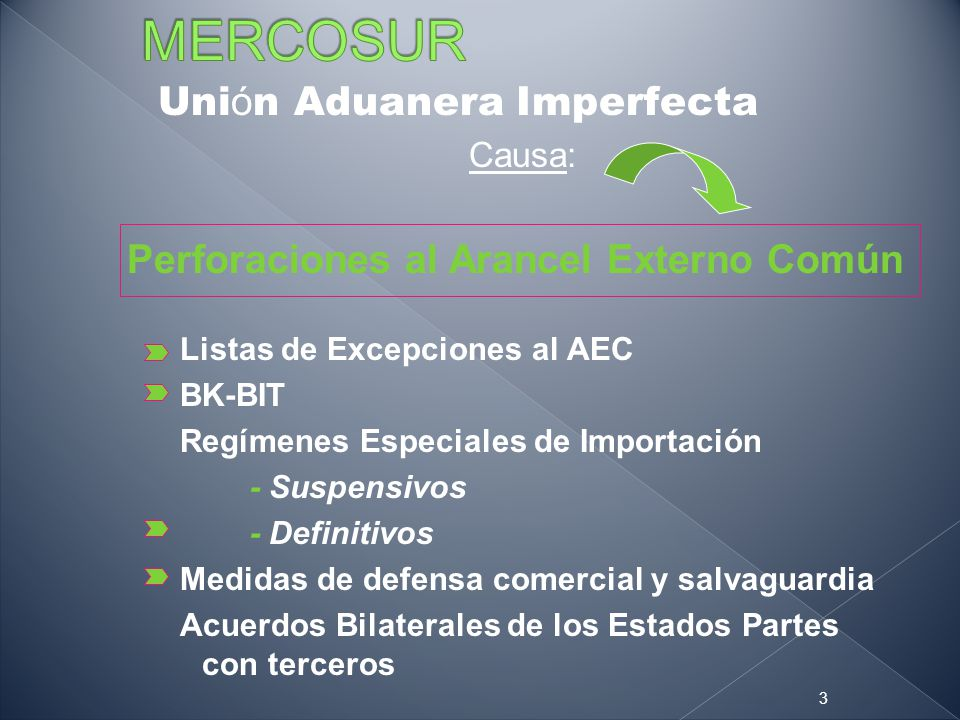 MERCOSUR Unión Aduanera Imperfecta