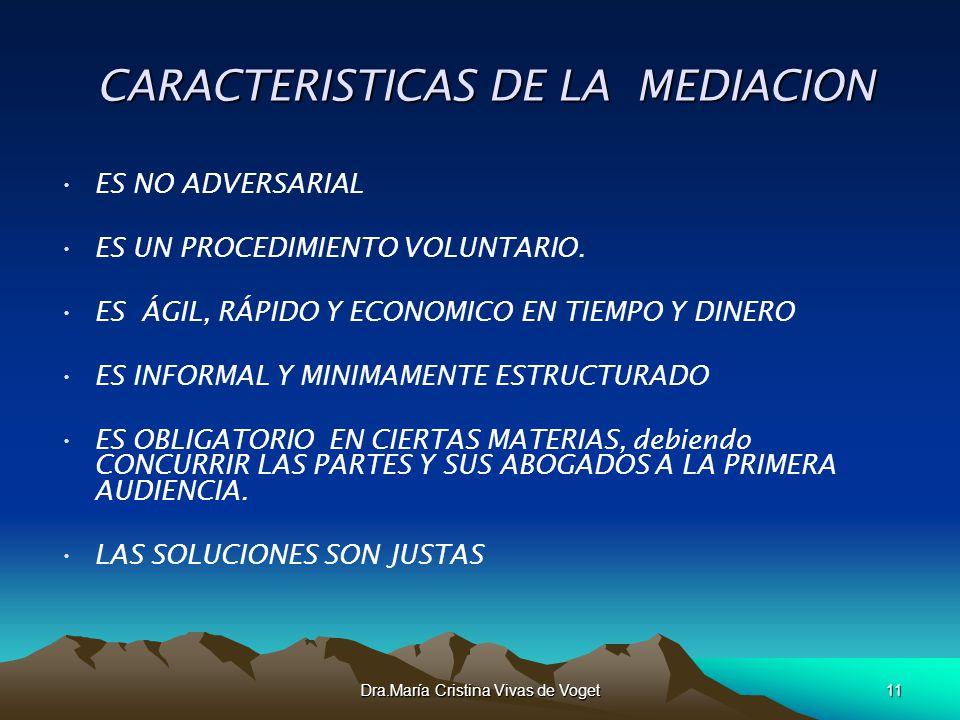 CARACTERISTICAS DE LA MEDIACION