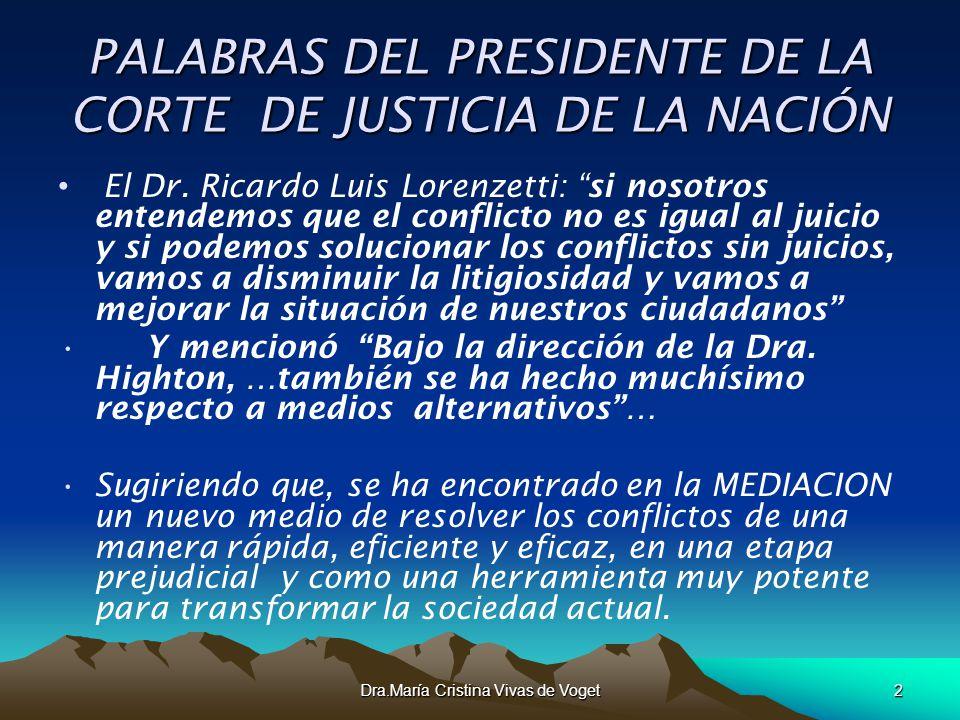 PALABRAS DEL PRESIDENTE DE LA CORTE DE JUSTICIA DE LA NACIÓN