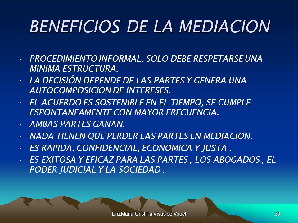 BENEFICIOS DE LA MEDIACION