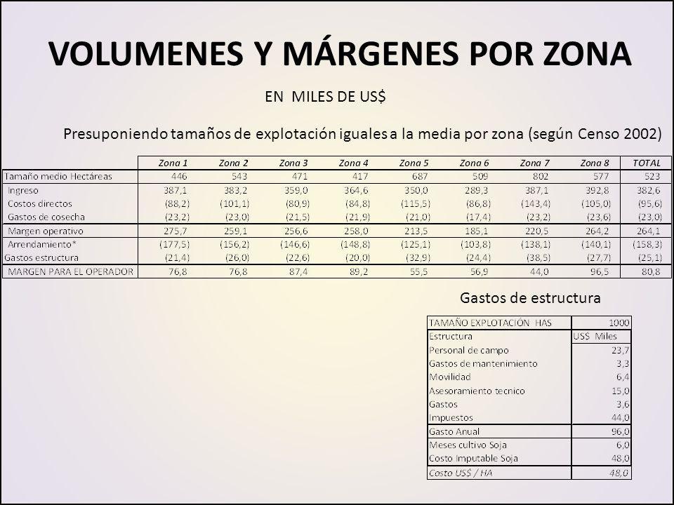VOLUMENES Y MÁRGENES POR ZONA