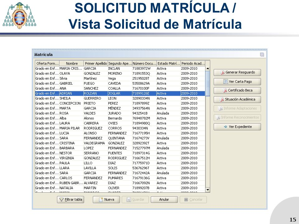 SOLICITUD MATRÍCULA / Vista Solicitud de Matrícula