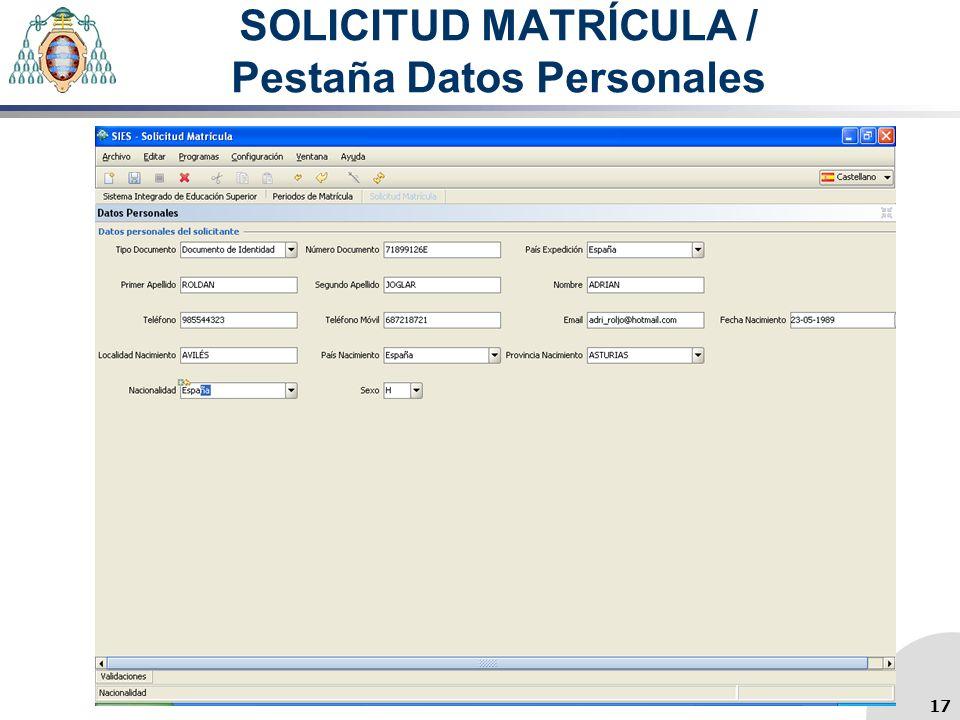 SOLICITUD MATRÍCULA / Pestaña Datos Personales