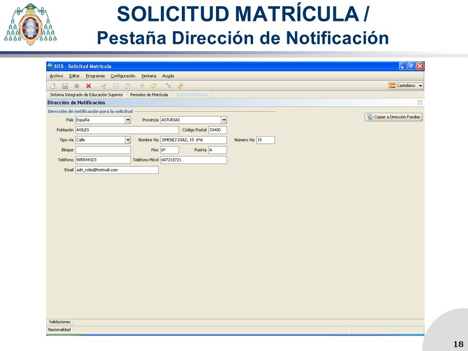 SOLICITUD MATRÍCULA / Pestaña Dirección de Notificación