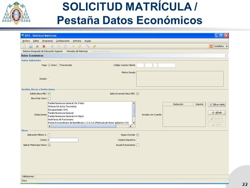 SOLICITUD MATRÍCULA / Pestaña Datos Económicos