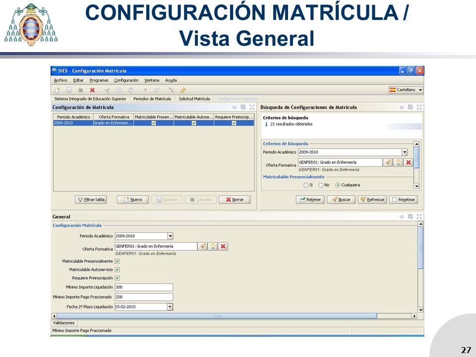 CONFIGURACIÓN MATRÍCULA / Vista General