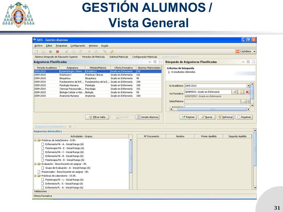 GESTIÓN ALUMNOS / Vista General