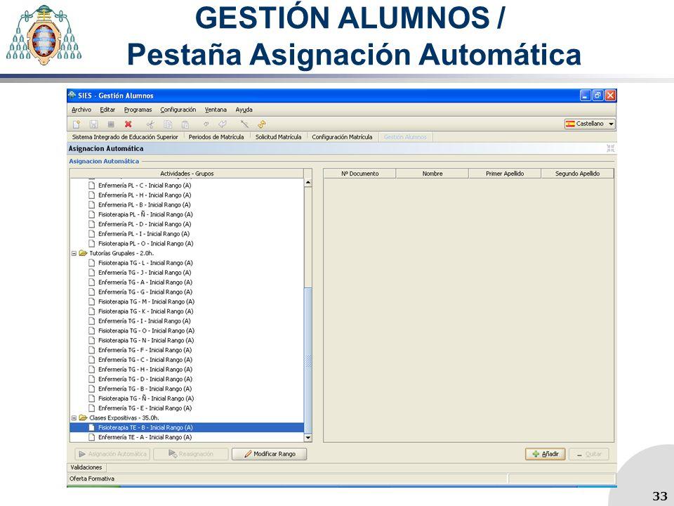 GESTIÓN ALUMNOS / Pestaña Asignación Automática