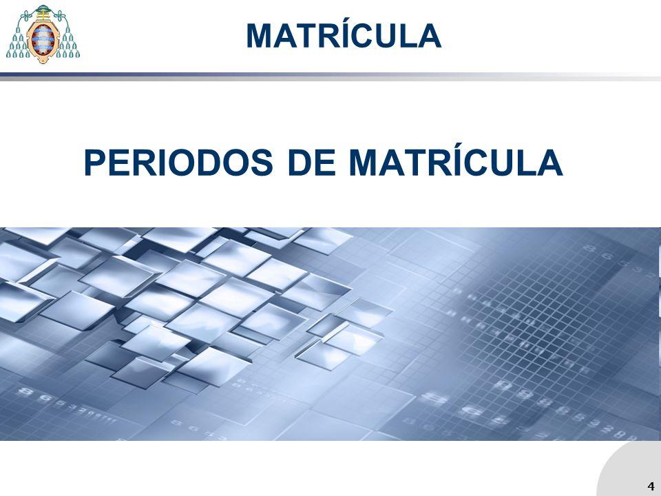 MATRÍCULA PERIODOS DE MATRÍCULA 4 4