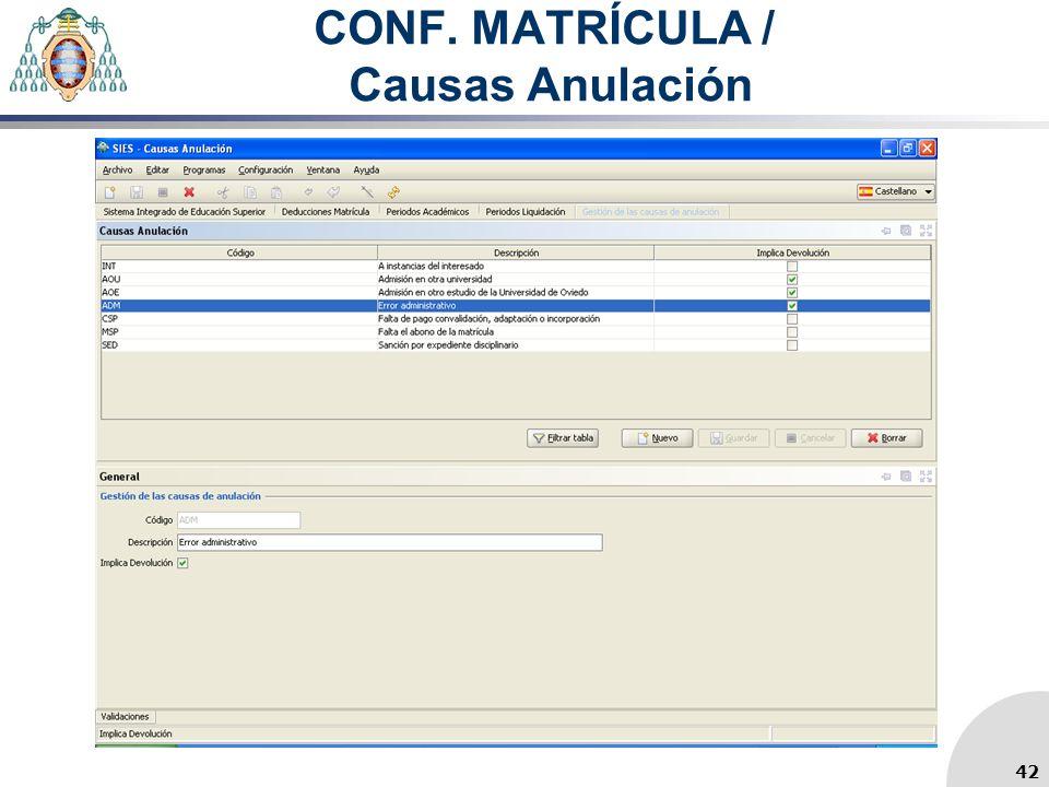CONF. MATRÍCULA / Causas Anulación