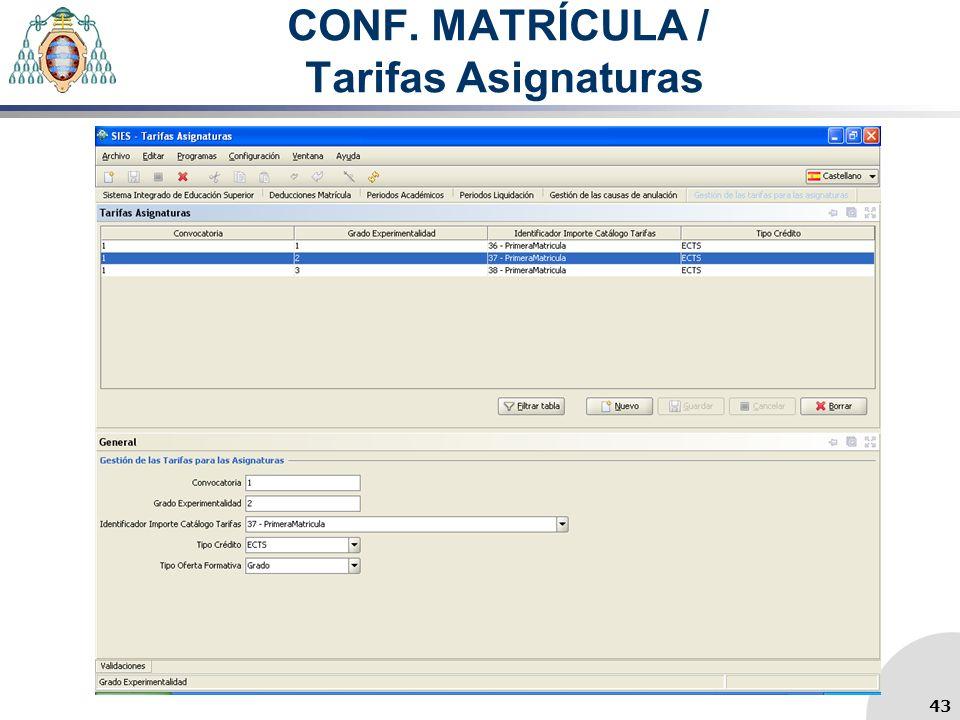 CONF. MATRÍCULA / Tarifas Asignaturas