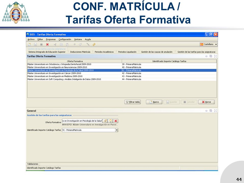 CONF. MATRÍCULA / Tarifas Oferta Formativa