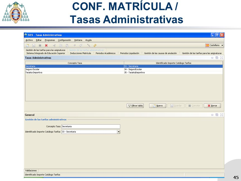CONF. MATRÍCULA / Tasas Administrativas