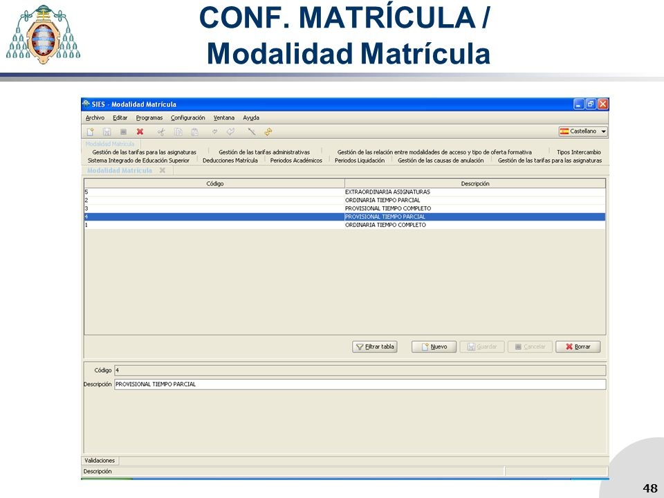 CONF. MATRÍCULA / Modalidad Matrícula