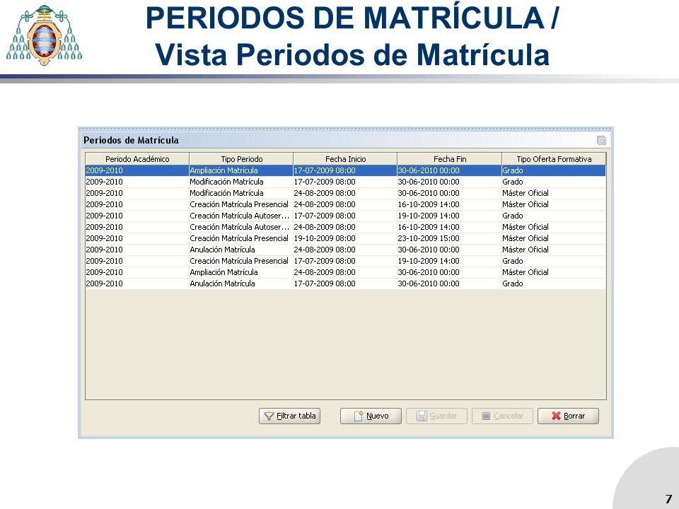 PERIODOS DE MATRÍCULA / Vista Periodos de Matrícula