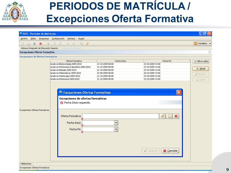 PERIODOS DE MATRÍCULA / Excepciones Oferta Formativa