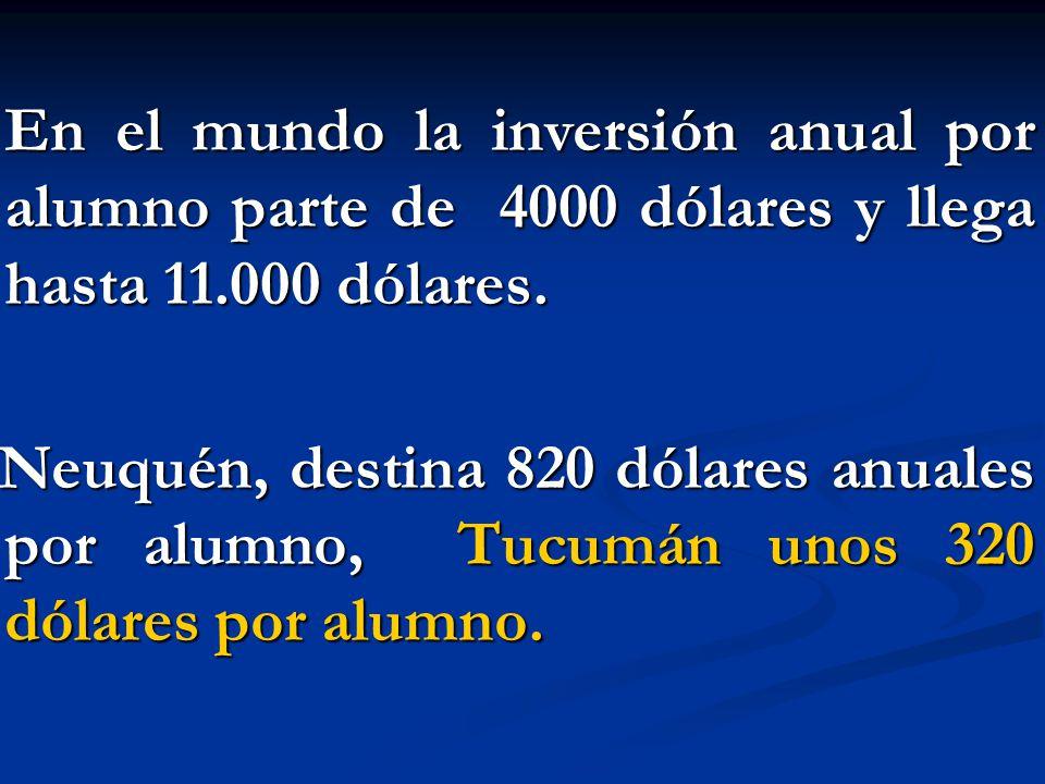 En el mundo la inversión anual por alumno parte de 4000 dólares y llega hasta 11.000 dólares.