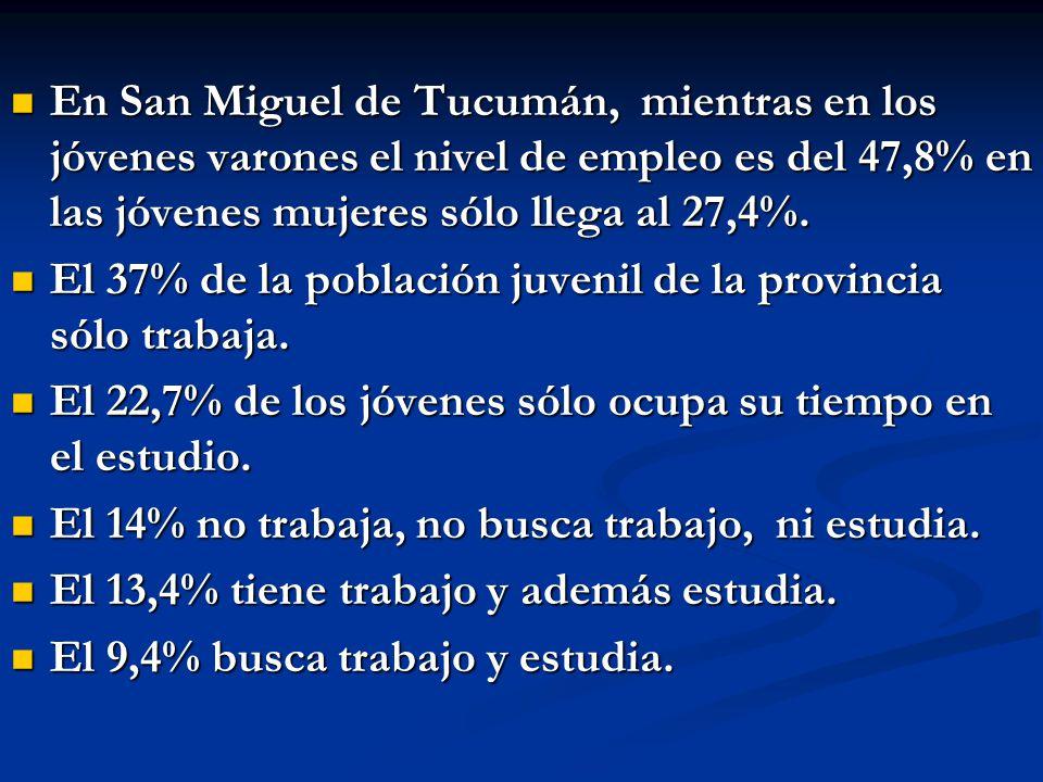 En San Miguel de Tucumán, mientras en los jóvenes varones el nivel de empleo es del 47,8% en las jóvenes mujeres sólo llega al 27,4%.