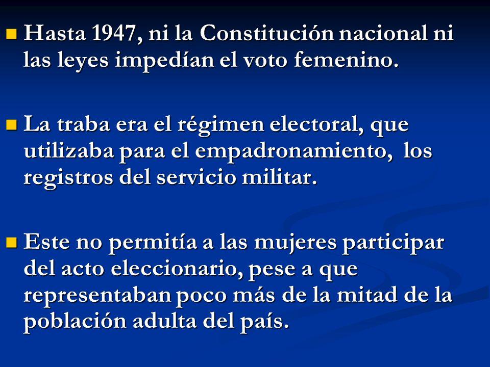 Hasta 1947, ni la Constitución nacional ni las leyes impedían el voto femenino.