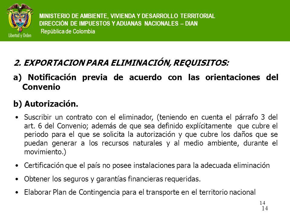 2. EXPORTACION PARA ELIMINACIÓN, REQUISITOS: