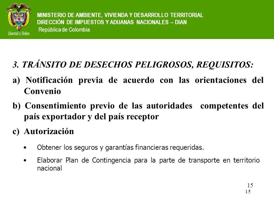 3. TRÁNSITO DE DESECHOS PELIGROSOS, REQUISITOS: