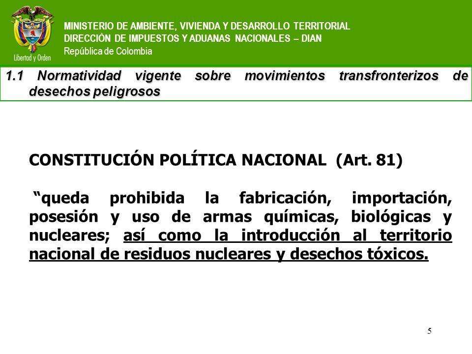CONSTITUCIÓN POLÍTICA NACIONAL (Art. 81)