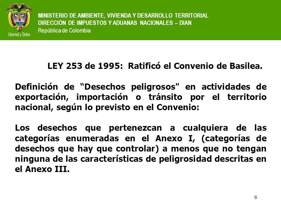 LEY 253 de 1995: Ratificó el Convenio de Basilea.