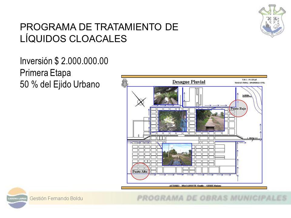 PROGRAMA DE TRATAMIENTO DE LÍQUIDOS CLOACALES