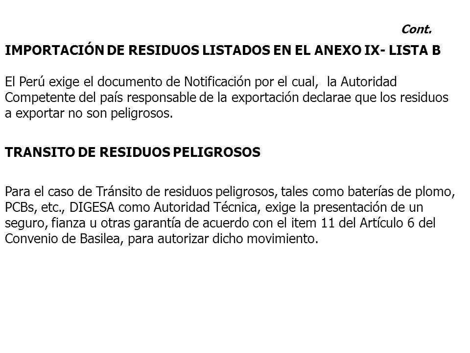 IMPORTACIÓN DE RESIDUOS LISTADOS EN EL ANEXO IX- LISTA B