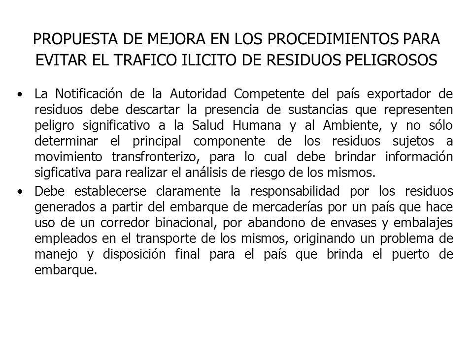 PROPUESTA DE MEJORA EN LOS PROCEDIMIENTOS PARA EVITAR EL TRAFICO ILICITO DE RESIDUOS PELIGROSOS